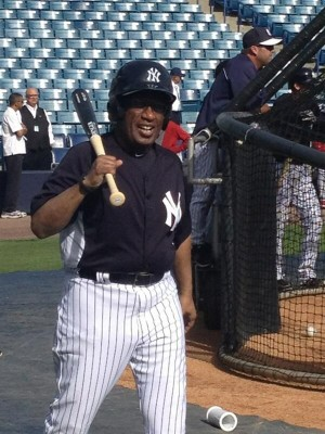 Al Roker in a New York Yankees uniform photo by Mark Feinsand